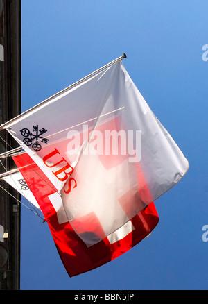 UBS, Union Bank of Switzerland and Swiss flag, Zurich, Switzerland, Europe - Stock Photo