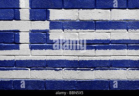 Flag of Greece on brick wall - Stock Photo