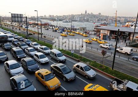 Rush hour in front of the ferry terminal Eminoenue, view from above, Istanbul, Turkey - Stock Photo