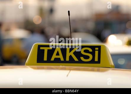 Turkish taxi sign on a car, Taksi, Eminoenue, Istanbul, Turkey - Stock Photo