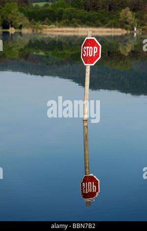 Stop sign, Turnersee lake, Carinthia, Austria, Europe - Stock Photo