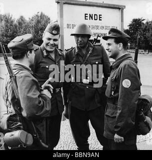 geography / travel, Germany, Berlin, wall, construction, members of National People's Army and Combat Groups of - Stock Photo