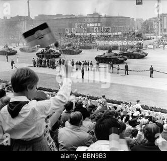 geography/travel, East Germany, politics, 1st May parade, tanks of National People's Army (NVA), Marx Engels Square, - Stock Photo