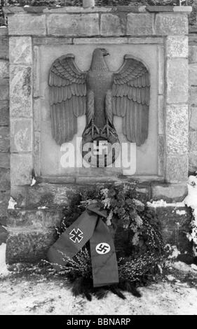 Nazism / National Socialism, emblems, imperial eagle (Reichsadler) at the entrance of a German military cemetery, - Stock Photo