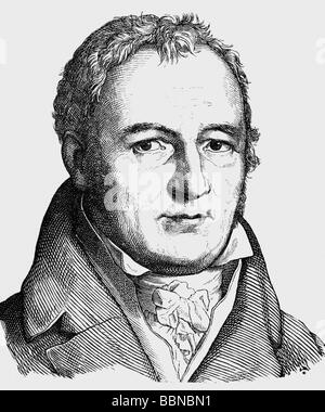 Hebel, Johann Peter, 10.5.1760 - 22.9.1826, German poet, portrait, engraving, 19th century, Additional-Rights-Clearances - Stock Photo