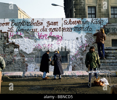 geography / travel, Germany, reunification, fall of the Berlin Wall, wall pecker, 9.11.1989, historic, historical, - Stock Photo