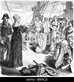 Fry, Elizabeth, 21.5.1780 - 12 10.1845, British social reformer, full length, visiting a ship with women on deportation - Stock Photo
