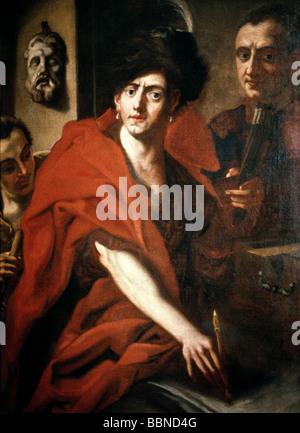Asam, Cosmas Damian, 28.9.1686 - 10.5.1742, German painter, sculptor and architect, half length, painting, Museum - Stock Photo
