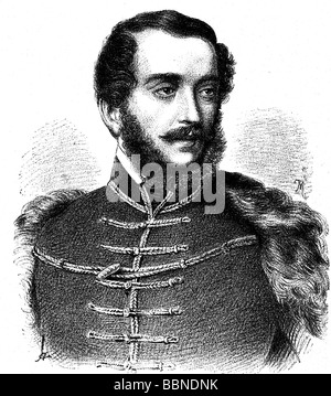 Kossuth, Lajos, 16.9.1802 - 20.3.1894, Hungarian politician, Regent-President of Hungary in 1849, portrait, wood - Stock Photo