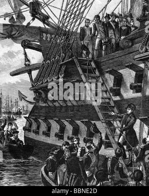 Napoleon I, 15.8.1769 - 5.5.1821, Emperor of the French 1804 - 1815, scene, going on board of HMS Bellerophon, 15.7.1815, - Stock Photo