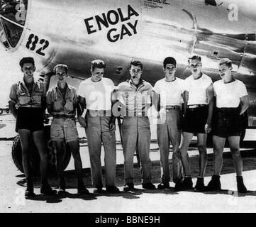 events, Second World War / WW II, Japan, Atomic bombing of Hiroshima, 6.8.1945, crew of the bomber 'Enola Gay, that - Stock Photo