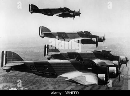transport / transportation, aviation, aircraft, Italy, Italian bombers Savoia Marchetti SM 79 'Sparviero' in flight, - Stock Photo