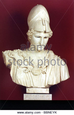Athena, Greek deity of wisdom and war, portrait, bust, Roman copy after statue of Kresilas, circa 430 BC, marble, - Stock Photo