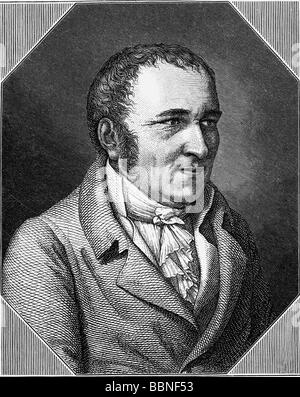 Hebel, Johann Peter, 10.5.1760 - 22.9.1826, German poet, portrait, wood engraving, Additional-Rights-Clearances - Stock Photo