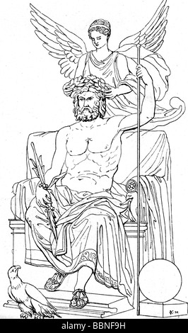 Zeus (Latin: Jupiter), Greek 'divine king', leader of gods, god of sky and thunder, half length, is being crowned - Stock Photo