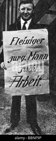 events, Great Depression 1929 - 1933, mass unemployment, sign 'Diligent young man looking for job', German, circa - Stock Photo
