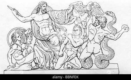 Zeus (Latin: Jupiter), Greek 'divine king', leader of gods, god of sky and thunder, scene, drawing after Pergamon - Stock Photo