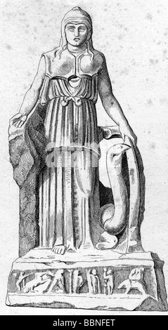 Athena, Greek deity of wisdom and war, full length, wood engraving, 19th century, after ancient statue, , Additional - Stock Photo