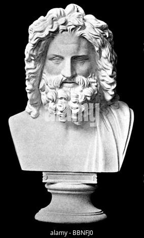 Zeus (Latin: Jupiter), Greek 'divine king', leader of gods, god of sky and thunder, portrait, 'Zeus of Otricoli', - Stock Photo