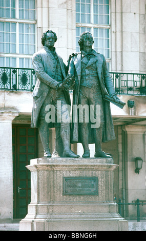 geography / travel, Germany, Thuringia, Weimar, monuments, Goethe-Schiller Monument, designed by Ernst Rietschel - Stock Photo