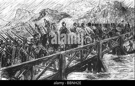 Gallic War 58 - 51 BC, the Roman army under proconsul Caius Julius Caesar is crossing the Rhine, 55 BC, drawing, - Stock Photo