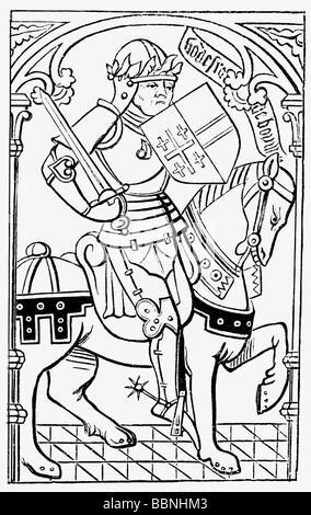 Godfrey of Bouillon, circa 1060 - 18.7.1100, King of Jerusalem 1099 - 1100, equestrian image, woodcut, 15th century, - Stock Photo