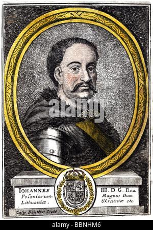 John III Sobieski, 17.8.1629 - 17.6.1696, King of Poland 1674 - 1696, portrait, coloured copper engraving by Caspard - Stock Photo
