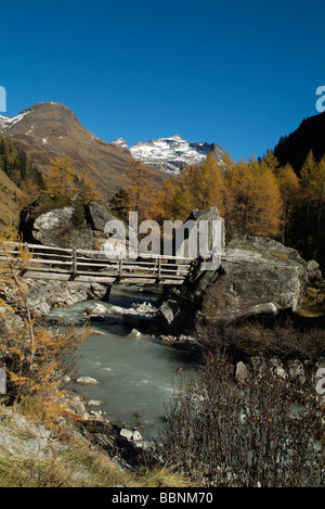 geography / travel, Austria, Tyrol, Gschloesstal, wooden bridge over Gschloessbach, Additional-Rights-Clearance - Stock Photo