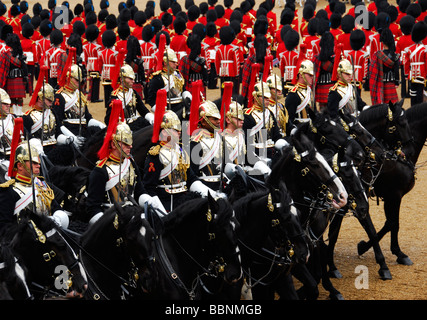 Trooping of the colour queens birthday parade - Stock Photo
