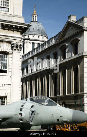 Sea Harrier FA2 on static display at the Old Royal Naval College as part of the Fly Navy 100 celebrations - Stock Photo