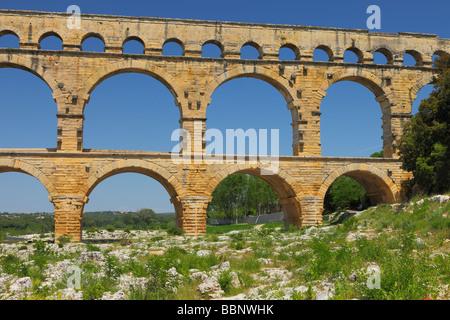 Ancient roman aqueduct Pont du Gard Languedoc-Roussillon France - Stock Photo