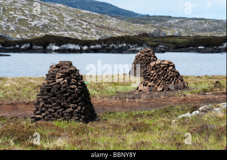 Cut Peats in stacks on moorland, Isle of Harris, Outer hebrides, Scotland - Stock Photo