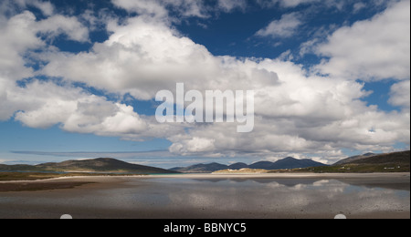 Clouds over Luskentyre beach, Isle of Harris, Outer Hebrides, Scotland - Stock Photo
