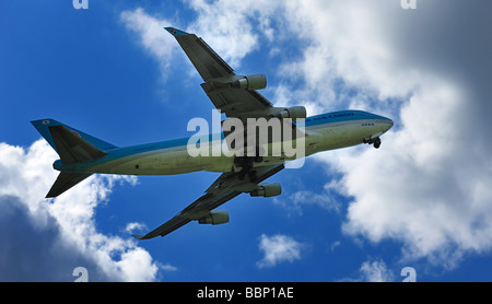 Korean Air Cargo Boeing 747 4B5 ER F on take off Amsterdam airport The Netherlands - Stock Photo