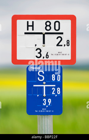 Water hydrant sign with slide plate - Stock Photo