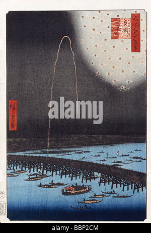Utagawa Hiroshige, One Hundred Famous Views of Edo, Fireworks at Ryogoku, - Stock Photo