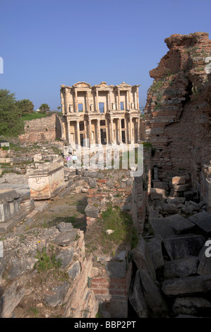 The ancient Celsus library among the ruins of Ephesus in Turkey - Stock Photo