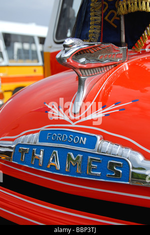MALTA. Detail on a Fordson Thames bus at Valletta bus station. 2009. - Stock Photo
