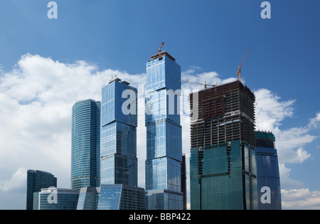 Construction of Moscow-City business centre, Moscow, Russia - Stock Photo