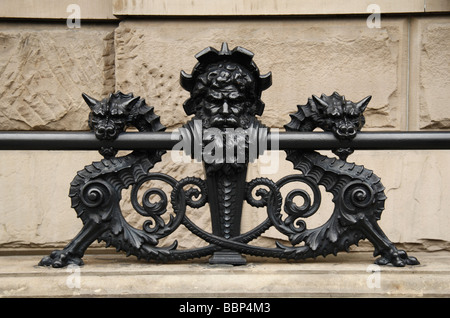 Close up of a railing feature on the Dakota Building on West 72nd St Central Park West, New York.