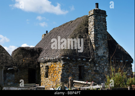 Old style croft cottage, Howmore village, Isle of Uist, Outer Hebrides, Scotalnd - Stock Photo