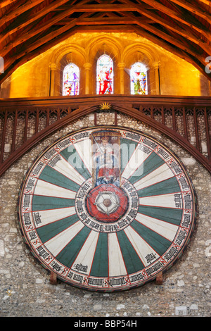 King Arthur's round table in The Great Hall, Winchester castle, Winchester, Hampshire, England, United Kingdom - Stock Photo