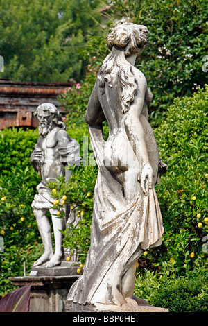 GARDEN IN THE PALAZZO PFANNER WITH ITS STATUES, ITS ROSEBUSHES AND LEMON TREES, LUCCA, TUSCANY, ITALY - Stock Photo