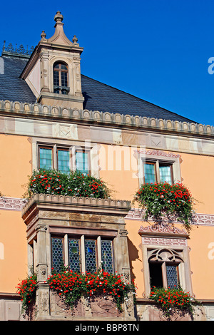 TOWN HALL, OBERNAI, BAS RHIN (67), ALSACE, FRANCE, EUROPE - Stock Photo