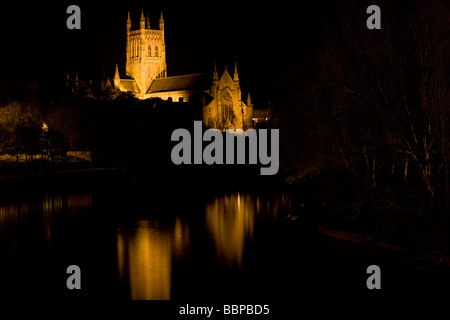 Worcester Cathedral with the River Severn in the foreground viewed from the main road bridge. - Stock Photo