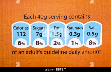 Food label showing nutrition information UK - Stock Photo