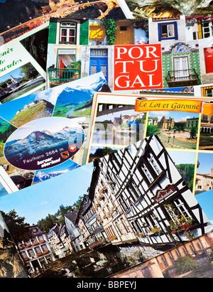 Postcards pile, European travel close up - Stock Photo