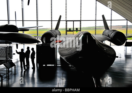 SR-71 Blackbird stealth bomber inside the American Air Museum at Imperial War Museum, Duxford, UK - Stock Photo