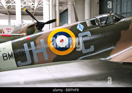 Spitfire on display at the Imperial War Museum, Duxford, UK - Stock Photo