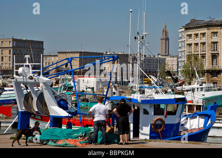 FISHING PORT IN FRONT OF THE SHIPOWNER'S HOUSE AND SAINT JOSEPH CHURCH, LE HAVRE, SEINE-MARITIME (76), NORMANDY, - Stock Photo